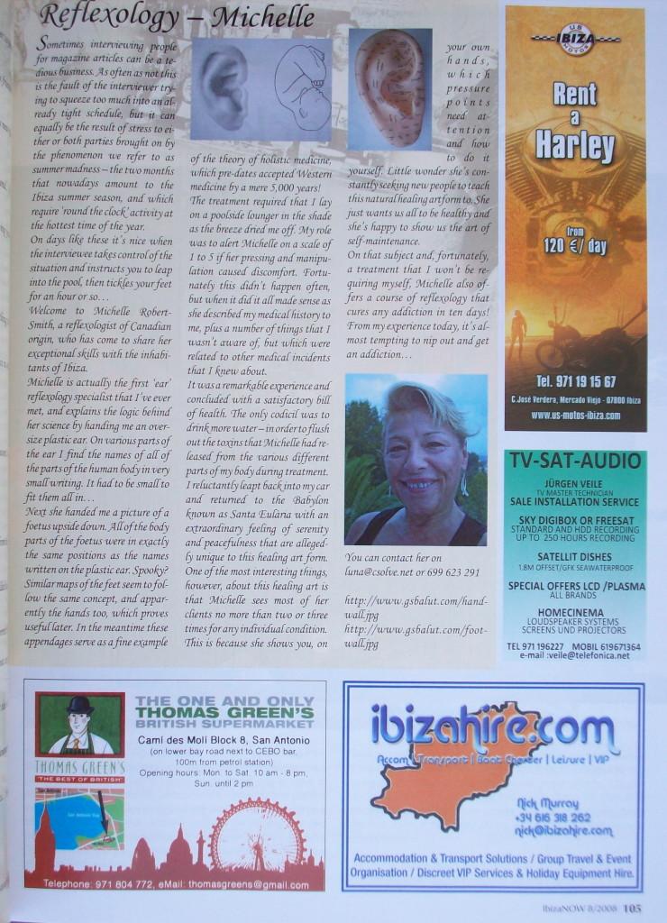 Reflexology Michelle -featured in Ibiza NOW